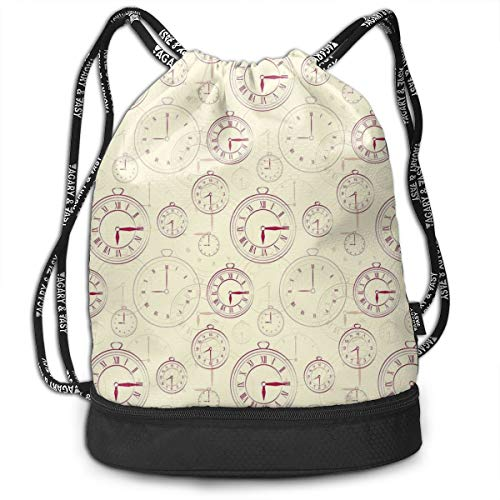 Multifunctional Drawstring Backpack for Men & Women, Vintage Watches with Roman Digits...