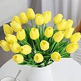 Veryhome 20 unids Tulipanes Artificiales Tulipanes Flores Reales Falsas para la decoración de la Boda del Partido del Hotel en casa, Amarillo