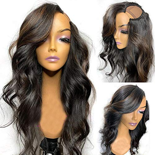 U Part Wig Wavy Human Hair Ombre Highlight U Shaped Human Hair Wigs for Black Women 150nsity 2X4 Opening Water Wave Left Side Part Wig Natural Color (22 inch, ombre highlight color)