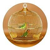 Perreras Jaula De Pájaros Redonda Dorada Jaula De Metal Jaula Ornamental Decorativa Jaula De Loros De Cría Pequeña Jaula De Pájaros Ornamentales para Exteriores (Color : Gold, Size : 38 * 38cm)