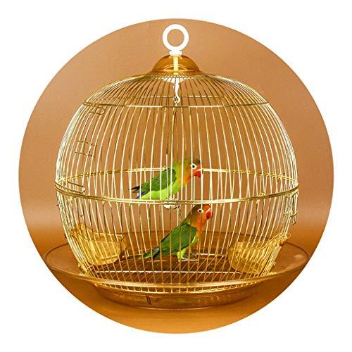 Perreras Jaula De Pájaros Redonda Dorada Jaula De Metal Jaula Ornamental Decorativa Jaula De Loros De Cría Pequeña Jaula De Pájaros Ornamentales para Exteriores (Color : Gold, Size : 38 * 38cm