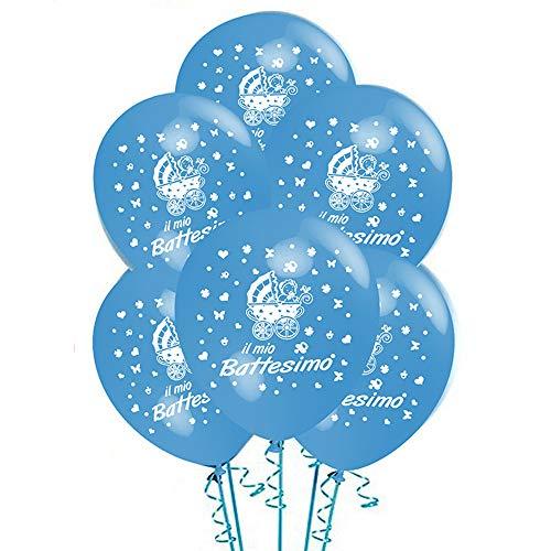 ocballoons Palloncini Battesimo Azzurro Bambino Bimbo Addobbi e Decorazioni KIT per Feste Made in ITALIY Biodegradabili Gonfiabili con Bombola a Elio Confezione 20pz