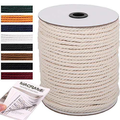 NOANTA Macrame Cord 6mm x 109Yards, Natural Cotton Macrame Rope Cotton Cord,...