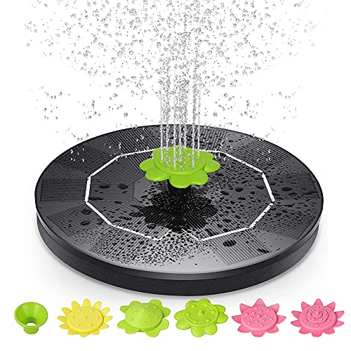 CJBIN Solarbrunnen für Draussen, Solar Wasserpumpe für Außen mit 6 * Blütenblattdüse +1 Packung * Grüne Düse für Gartenteich, Springbrunnen, Vogel Bad, Fisch Behälter(6V/1W)
