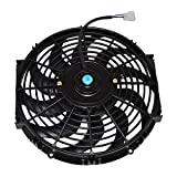 A-Team Performance 170071 12' Radiator Electric Cooling Fan Car Transmission Cooler Heavy Duty 10 Curved Blades 12V 1400 CFM Reversible Push or Pull with Mounting Kit Black 12 Inches