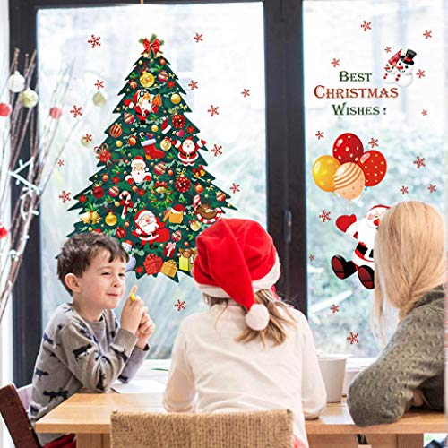 Joy.J Weihnachtssticker Selbstklebend Fensterdeko Weihnachtsbaum Weihnachtsmann Geschenke Wandaufkleber Schaufenster, PVC Fensterdeko Set - Leicht zum anbringen ohne Kleber