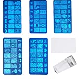 FOCCTS Nail Art Rondes et 3 Plaques Stamping Rectangulaires pour Art d'Ongles