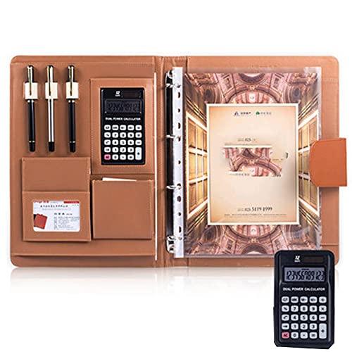 Carpetas Marrones, Diseño de Bolsillo para Teléfono Móvil, Posición de Inserción de Pluma, Bolsa de Información, Calculadora de 12 Dígitos, Portafolios de Cuero (Size:12-digit calculator,Color:marrón)