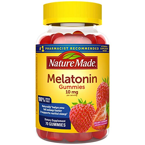 Nature Made Melatonin 10 mg Gummies, 70 Count of Melatonin Gummies for Supporting Restful Sleep