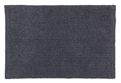 Schöner Wohnen Badteppich – beidseitig verwendbar – waschbar – 100% Baumwolle – einfarbig – anthrazit – 67 x 110 cm