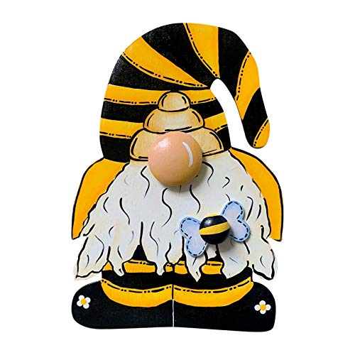 Gnome Sign Bumble Bee Wooden Sign,Happy Bee Day Welcome Sign Hanging Ornaments frant door pedant Indoor Outdoor Decor