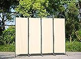 Angel Living Biombo Separador de 4 Paneles con el Techo y la Base de la Forma Curva, Decoración Elegante, Separador de Ambientes Plegable, Divisor de Habitaciones, 225X185 cm (Beige)