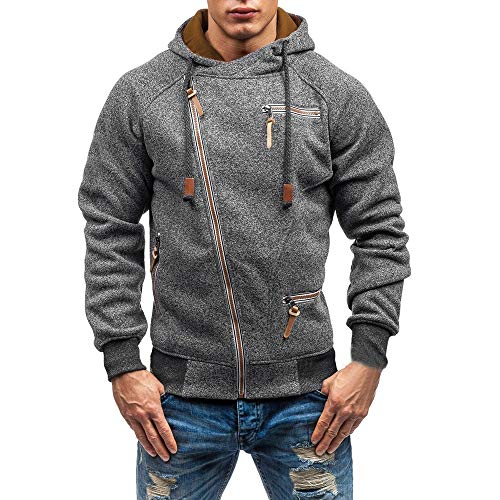 Tefamore-Hommes Automne Manches Longues Hommes Zipper Sweat à Capuche Outwear Tops Chemisier(Gris foncé,Large)