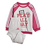 adidas Baby Graphic Jogger French Terry Trainingsanzug, Light Grey Heather/Real Magenta/White/Clear Mint, 74