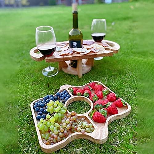 Weintisch Tragbar, Stay&me Picknicktisch Rund Holz, Tragbarer Outdoor Weintisch, Picknicktisch Klappbar Holz, Kleiner Strandtisch, Zusammenklappbarer Tisch Holz Für Den Außenbereich (A)
