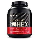 Optimum Nutrition ON Gold Standard Whey Protein Pulver, Eiweißpulver Muskelaufbau mit Glutamin und Aminosäuren, natürlich enthaltene BCAA, Strawberry, 77 Portionen, 2,27kg