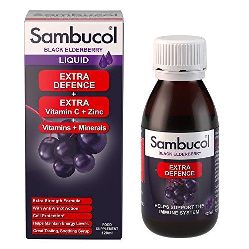 Sambucol Schwarze Holunderbeere Extra Verteidigung | Vitamin C | Zink | Unterstützung des Immunsystems | 120ml