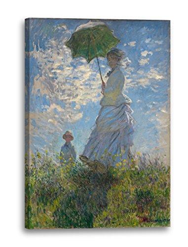 Printed Paintings Leinwand (60x80cm): Claude Monet - Frau mit Sonnenschirm - Madame Monet mit Ihr