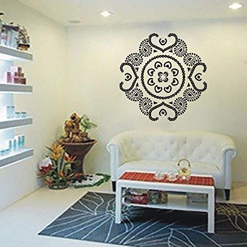 DIY diseño Mandala Yoga Vinilo calcomanías Pegatinas de Pared PVC decoración para el hogar DIY Mural Wall Art Wallpaper Gris 60x60 cm