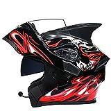 SJAPEX Bluetooth Integrado Casco de Moto Modular con Doble Visera Cascos de Motocicleta ECE/Dot Homologado Motocicleta de Casco Completo para Adultos al Aire Libre Casco Integral B,XXXL63cm~64cm