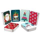 Scatole Latta Natale per Gift Cards (x 6) - Scatole di Latta Natalizie per Carte Regalo 11,5x8,3x2,2 cm - Scatole di Latta Natalizie Assortite - Scatola Latta Natale per Piccoli Regali Famiglia, Amici