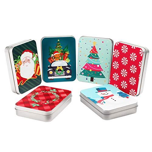 Caja para Tarjetas de Regalo (Pack de 6) 11,5x8,3x2,2 cm Tarjeta Regalo en Lata de Metal - Tema de Navidad Variada - Caja con Tapa Almacenamiento para Pequeños Regalos para Niños, Familiares y Amigos