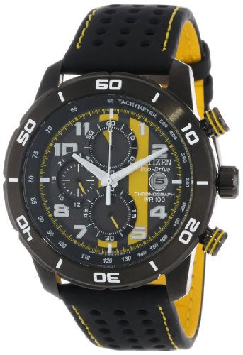 Citizen Men's CA0467-38E 'Eco-Drive Promo' Chronograph Stainless Steel Watch with Yellow-Stitched...