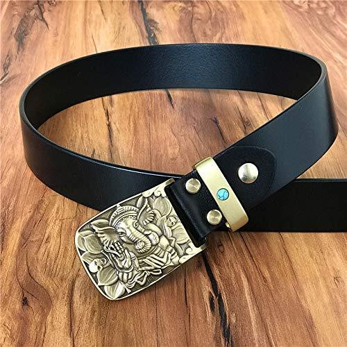 SJAKMA Herrengürtel,Schwarz Vintage Leder Gürtel Für Männer Männer Gürtel Brass Elephant Belt Buckle Gürtel Jeans Armband, 115 cm