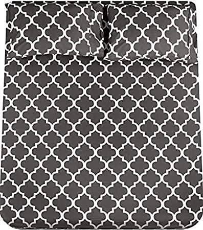Utopia Bedding - Juego Sábanas de Cama Estampadas - Microfibra Cepillada - Sábanas y 2 Fundas de Almohada - (Cama 150, Gris)