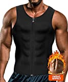 CORATED Men Waist Trainer Vest Weightloss Hot Neoprene Corset Compression Sweat Body Shaper Slimming Sauna Tank Top Workout Shirt(Blackzip,M)