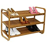 Oceanstar 3-Tier Bamboo Shoe Rack, Brown