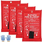 Aotala Fire Blanket Emergency Surival Fire Blankets Fiberglass Flame Retardant Protection and Heat Insulation for Kitchen,Fireplace,Grill,Car,Camping (4Pack)