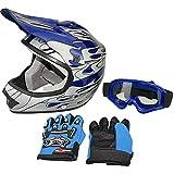 WINHOD DOT Approved Youth Off-Road Helmet+Goggles+Gloves,Lightweight and Maximum Ventilation Kids Dirt Bike Helmet Secured w/D-Ring,Blue,Medium.(a.k.a ATV Mx Helmet,Motocross Helmet)