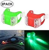 Womdee 2 luces LED de navegación marina, luces de seguridad con 3 modos de conducción nocturna, luces de respaldo de energía para barco, kayak, moto, barco, pilas, color azul, Verde y rojo