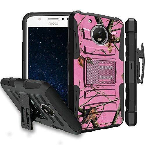 Untouchble Case for [Motorola Moto E4 Plus Case, Moto E4 Plus XT1770 Case] Heavy Duty Shell Case with Built In Kickstand Rotating Heavy Duty Holster Belt - Pink Tree Camo