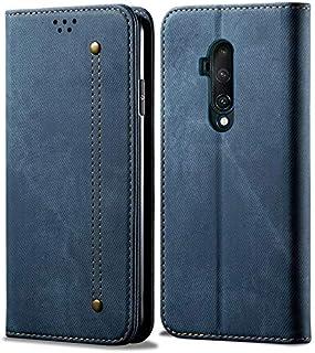 Oneplus 7t Proのためのレトロな高級キャンバステクスチャフリップ磁気カードホルダーレザーの財布の電話カバー。 (色 : 青)