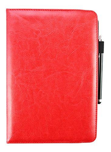 Emartbuy® bq Edison 3 Mini Tablet PC 8 Zoll Universal (7-8 Zoll) Rot Premium PU Leder 360GradrotierendeStandFolioGeldbörseTascheHülle + Rot Eingabestift