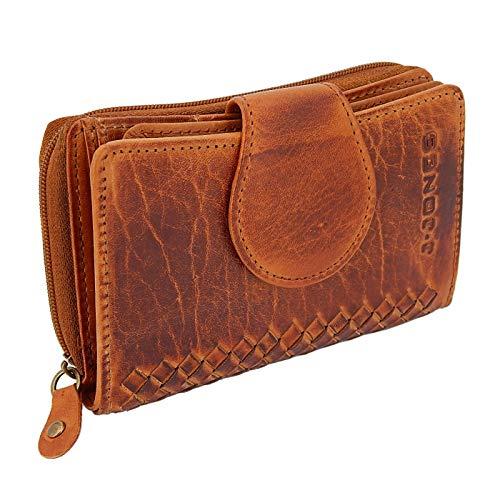 ekavale - Damen Leder Geldbörse mit Flecht-Optik Geldbeutel groß, Portemonnaie viele Karten-Fächer, Damen Portmonee lang