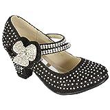MyShoeStore - Zapatos de boda para niña, con diamantes de imitación, estilo Mary Jane, de tacón bajo, color plateado, talla 26,5 EU Niño