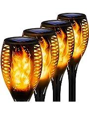 swonuk Lamp op zonne-energie, IP65 waterdicht, voor buiten, dans, vlammen en tuin, 4 stuks