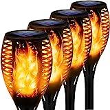 4 Stück Flammenlicht Gartenfackeln IP65 Wasserdicht Solar Flamme Fackeln Lichter Solarleuchten mit Realistischen Flammen Automatische EIN/Aus Solarlampen für außen