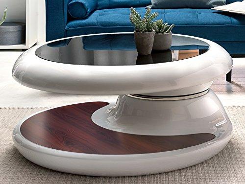 SalesFever® Couchtisch Enric, aus weißem Fiberglas, 90 x 90 cm, runder Wohnzimmertisch, 8 mm Tischplatte aus Glas, Tisch mit pflegeleichter Oberfläche