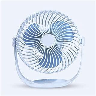 SHANGRUIYUAN-Mini Fan Portable Multifunction Fan Seven-inch Striped Desktop Handheld Mini Fans Small Cooling Free Rotation USB Charging (Color : Blue)