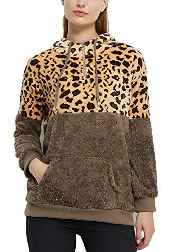 Basic Model Leopard Sweatshirts for Women Half Zip Up Sherpa Hoodie Pullover Outwear with Pockets