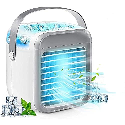 HFFSGS Acondicionador de aire portátil, refrigerador de aire USB tranquilo, Mini acondicionador de aire recargable con luz LED, Agua de escritorio Ventilador de enfriamiento para agua 3 veloci