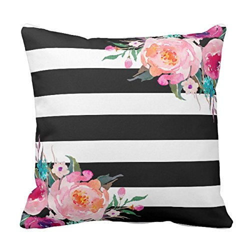 UOOPOO Trendy Pink Watercolor Floral Black White Stripe Outdoor Throw Pillow Case Square 18 x 18 Inches Soft Cotton Canvas Home Decorative Wedding Cushion Cover for Sofa and Bed One Side