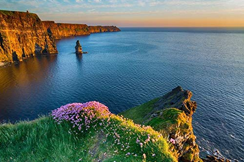The Cliffs of Moher West coast of Ireland with Epic Irish Landscape & Seascape 9003236 (9x12 Art Print, Wall Decor Travel Poster)