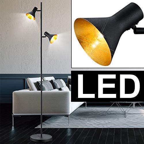 Retro Steh Lampe schwarz drehbar Wohn Zimmer Energiespar Decken Fluter im Set inkl. LED Leuchtmittel