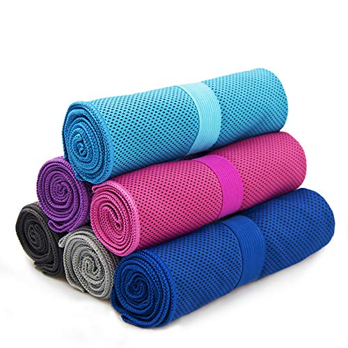 Cool Towel anngrowy Microfiber Cooling Towel for Neck Ice Cold Towels for Outdoor Sports Travel Gym Workout Fitness Yoga Pilates Camping Golf Running Swimming Exercise Towels, Absorbent, Lightweight