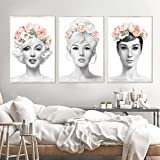 OCRTN Audrey Hepburn Blume Krone Wandkunst Leinwand Mode